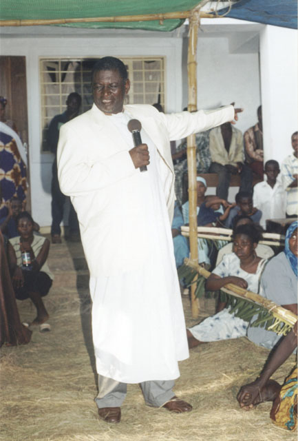 Joanitha's father Vicent giving a speech at the sendoff party, Bukoba, Tanzania, 2003