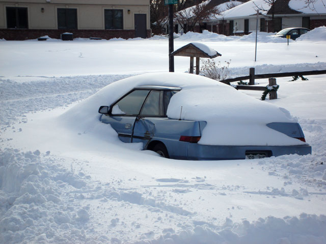 car buried in snow, Fort Collins, Colorado, 2006