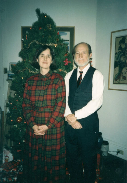 Don and Colette Vogl at the Christmas tree, South Bend, Indiana, 1997