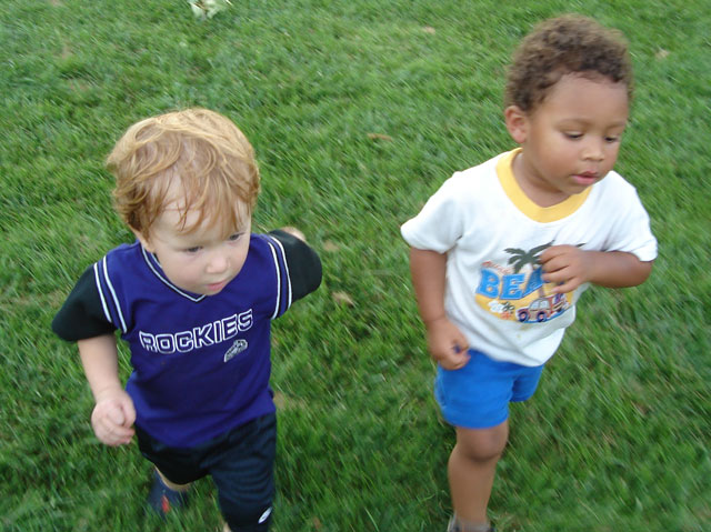 Dylan and Joachim running, Fort Collins, Colorado, 2007