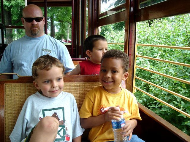 Filipe and Joachim on the trolley, Fort Collins, Colorado, 2009