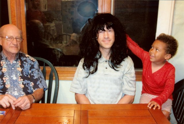 Greg in black wig with Don and Joachim, Fort Collins, Colorado, 2010