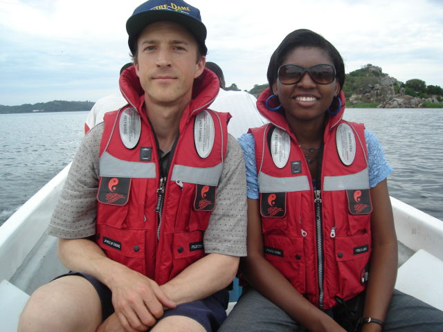 Greg and Joanitha on the boat to Saa Nane Island, Mwanza, Tanzania, 2008