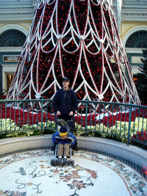Greg and Joachim by a large Christmas tree, Las Vegas, Nevada, 2009