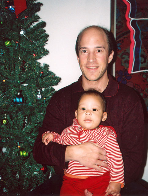 Greg and Joachim at the Christmas tree, Fort Collins, Colorado, 2005