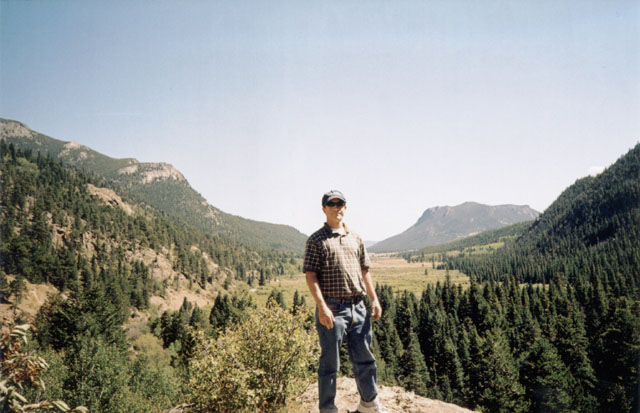 Greg in a valley, Rocky Mountain NP, Colorado, 2004