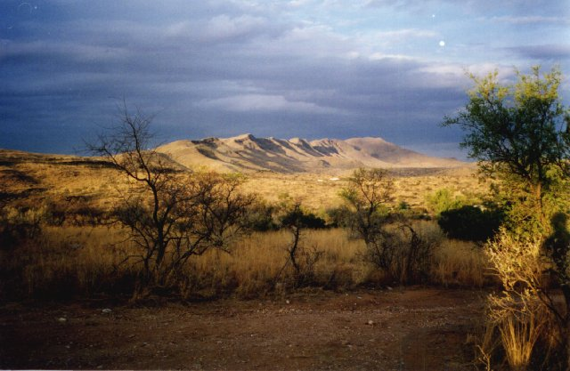 view of Auas Mountains from Harmony Centre, Windhoek, Namibia, 1994