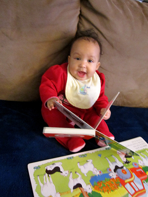 Irene reading a book at 6.5 months, Fort Collins, Colorado, 2014