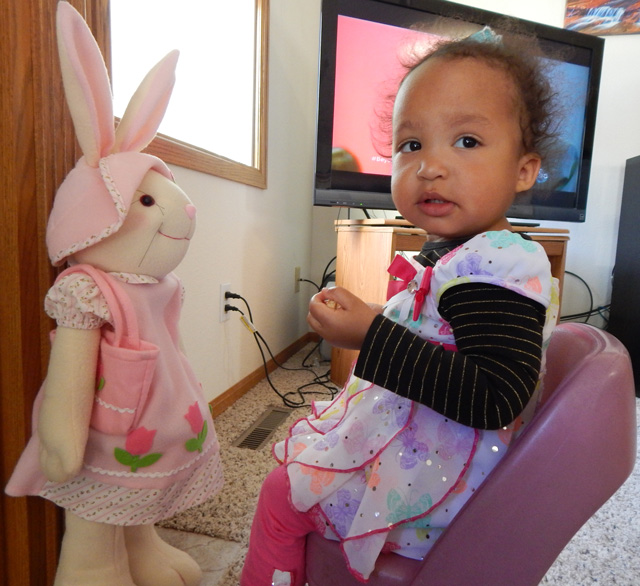 Irene with the Easter Bunny, Fort Collins, Colorado, 2015