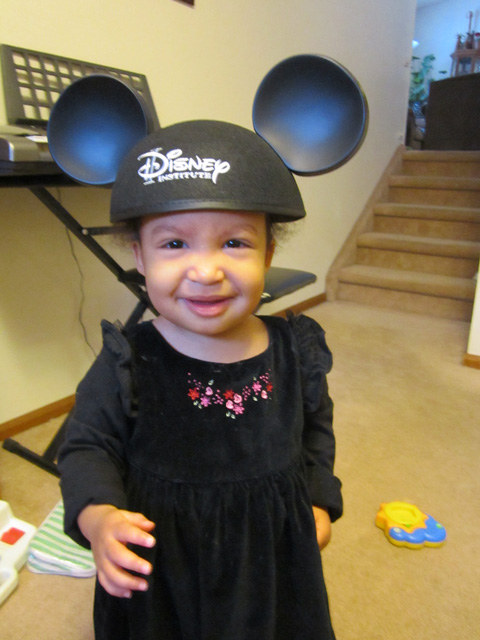Irene with Mickey Mouse ears, Fort Collins, Colorado, 2015