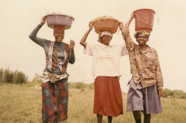 Joanitha and friends carrying buckets, Bukoba, Tanzania, 1998
