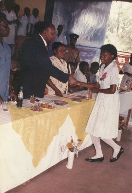 Joanitha at primary school graduation, Bukoba, Tanzania, 1991