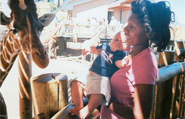 """Joanitha, Joachim and giraffe"", Fort Collins, Colorado, 2005"