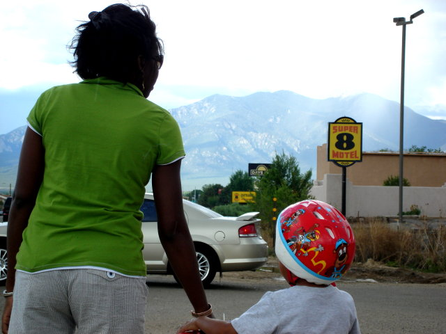 Joanitha and Joachim by the Super 8 Motel, Taos, New Mexico, 2009