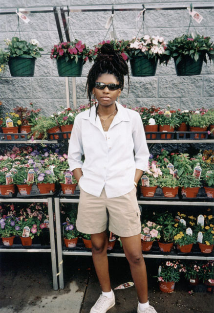 Joanitha with Walmart flowers, Fort Collins, Colorado, 2004