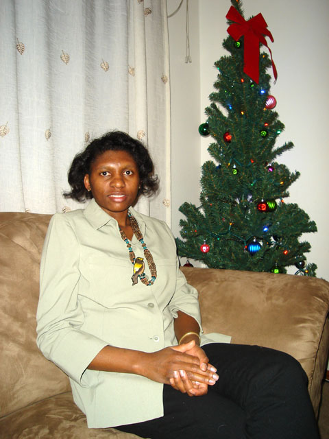 Joanitha by the Christmas tree, Fort Collins, Colorado, 2007