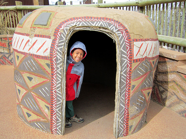 Joachim in an African hut at the Cheyenne Mountain Zoo, Colorado Springs, Colorado, 2014