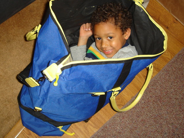 Joachim in a bag, Fort Collins, Colorado, 2009