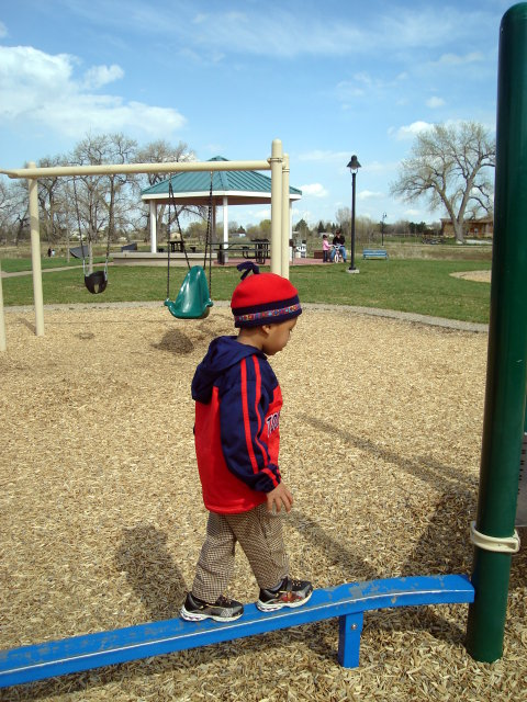 """Joachim on a balance beam, Spring Canyon park"", Fort Collins, Colorado, 2009"