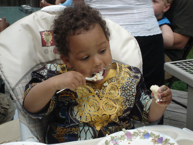 Joachim eating cake, Fort Collins, Colorado, 2007