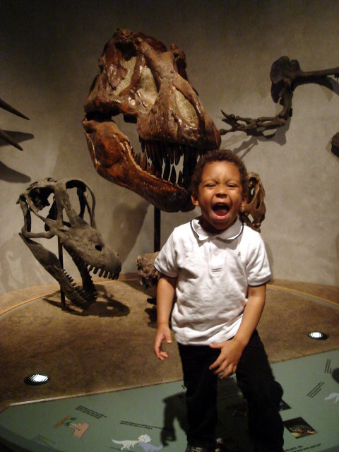 Joachim roaring like a dinosaur, Denver, Colorado, 2009