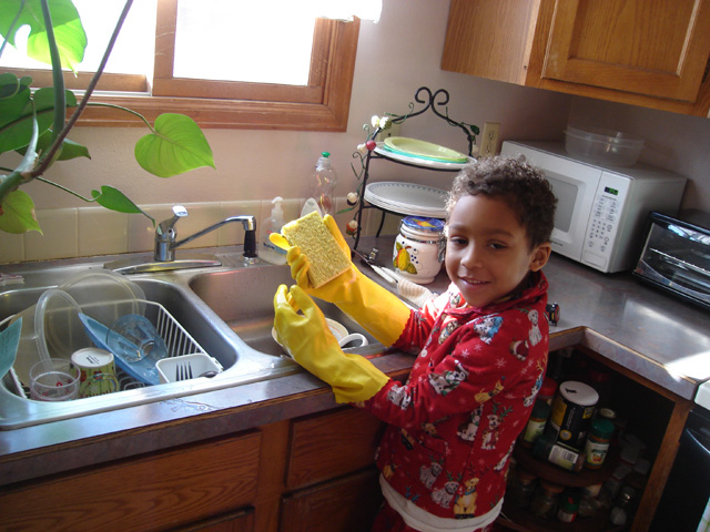 Joachim doing dishes, Fort Collins, Colorado, 2011