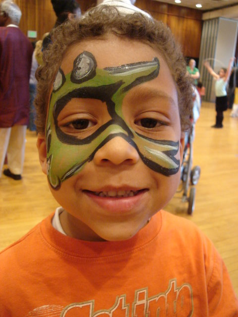 Joachim with dragon face paint, Fort Collins, Colorado, 2010