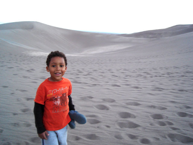 Joachim by the sand dunes at sunset, Great Sand Dunes National Park, Colorado, 2010