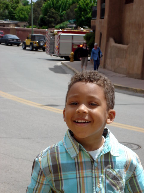 Joachim by a fire truck, Santa Fe, New Mexico, 2009