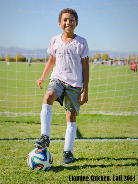 Joachim with soccer ball, Fort Collins, Colorado, 2014