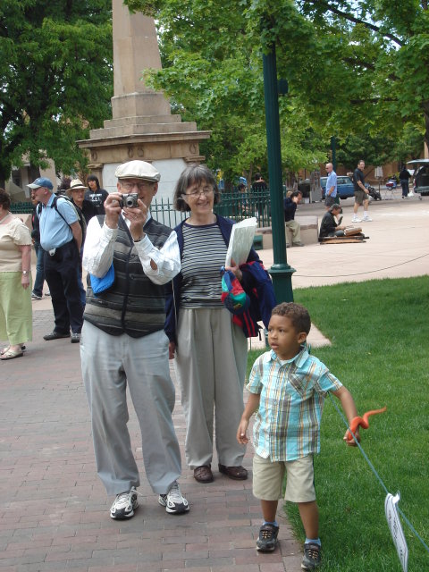 Joachim and grandparents by a monument, Santa Fe, New Mexico, 2009