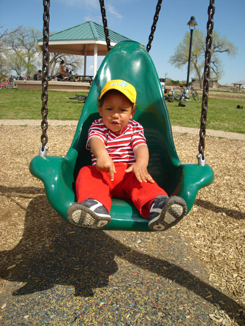 Joachim on a green swing, Fort Collins, Colorado, 2007