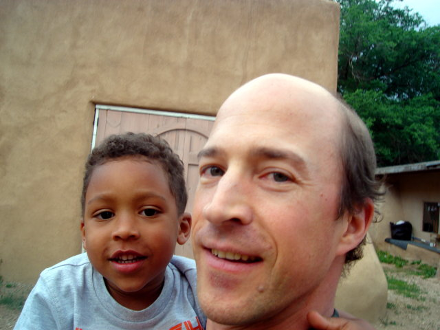 Joachim and Greg near San Francisco de Asis church, Taos, New Mexico, 2009