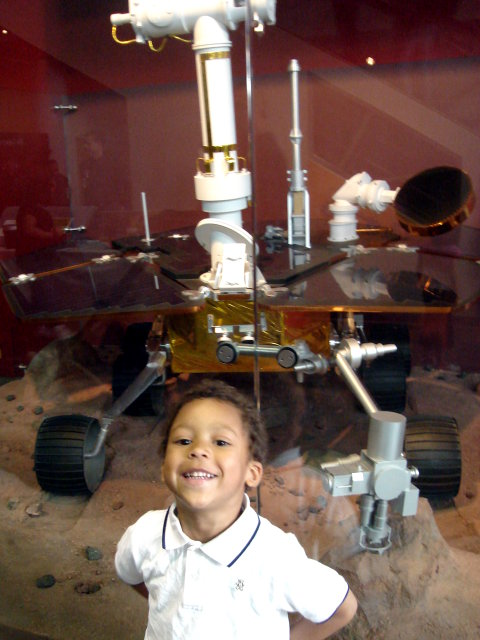Joachim by a Mars exploration vehicle, Denver, Colorado, 2009