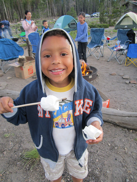 Joachim with a marshmallow, Rocky Mountain NP, Colorado, 2011