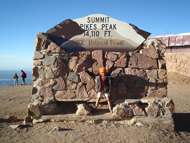 Joachim at the summit, Pikes Peak, Colorado, 2010