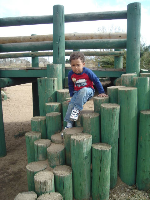 Joachim on posts at Rolland Moore Park, Fort Collins, Colorado, 2008