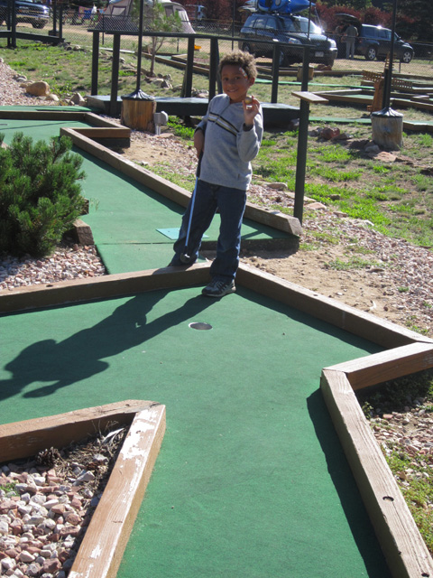Joachim playing putt putt at the campground, Rocky Mountain NP, Colorado, 2011