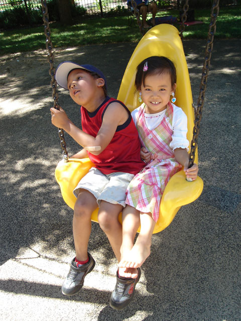 Joachim with his day care friend Qiana, Fort Collins, Colorado, 2010