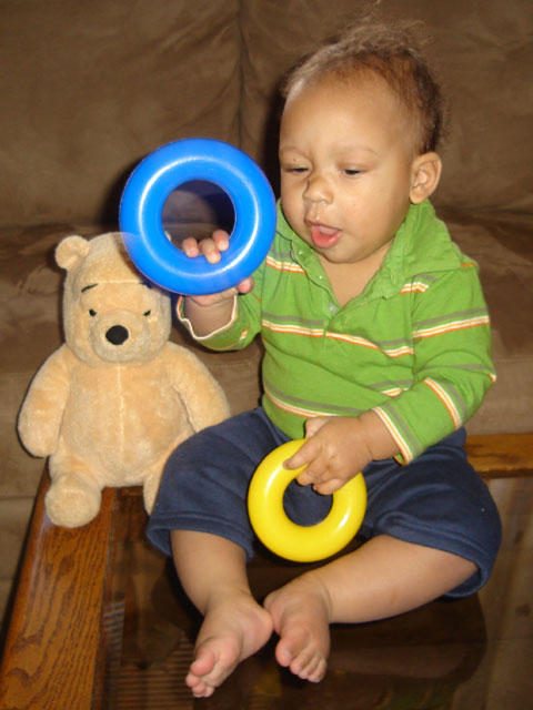 Joachim with rings and bear, Fort Collins, Colorado, 2006