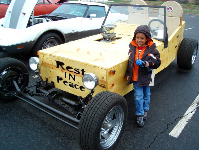 Joachim with coffin car, Fort Collins, Colorado, 2010
