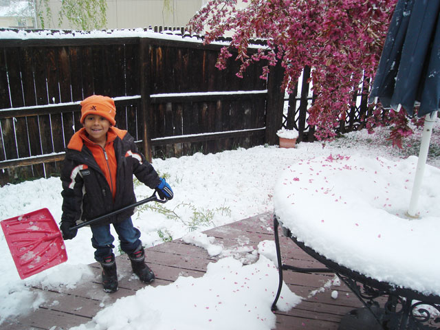 Joachim shoveling snow on the deck, Fort Collins, Colorado, 2010