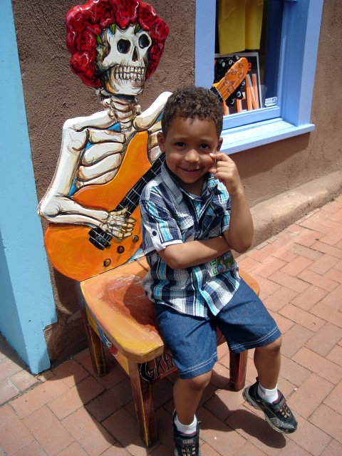 Joachim on a skeleton chair, Albuquerque, New Mexico, 2009