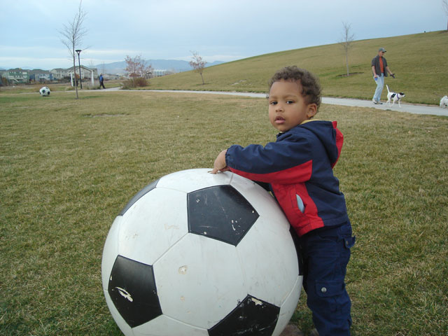 Joachim with giant soccer ball, Fort Collins, Colorado, 2007