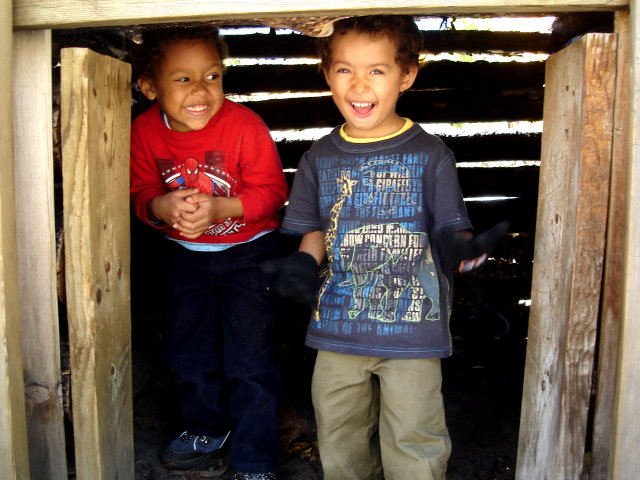 Joachim and Tariq in a bear cage, CSU Pingree Park, Colorado, 2009