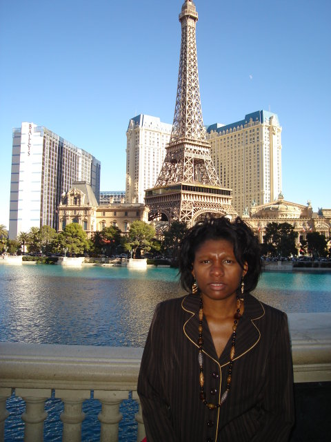 Joanitha and the Eiffel Tower, Las Vegas, Nevada, 2009