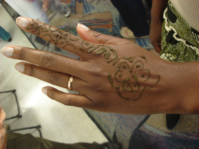 Joanitha's hand with henna, Fort Collins, Colorado, 2011