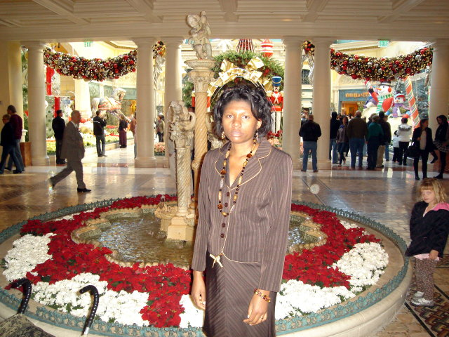 Joanitha by a Christmas fountain, Las Vegas, Nevada, 2009
