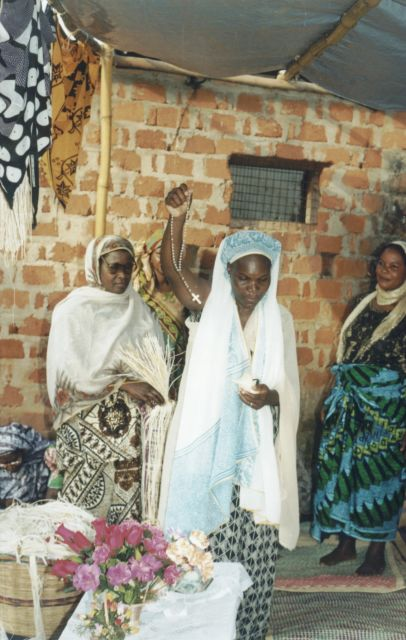 Joanitha's mother at mama kikapu party, Bukoba, Tanzania, 2003