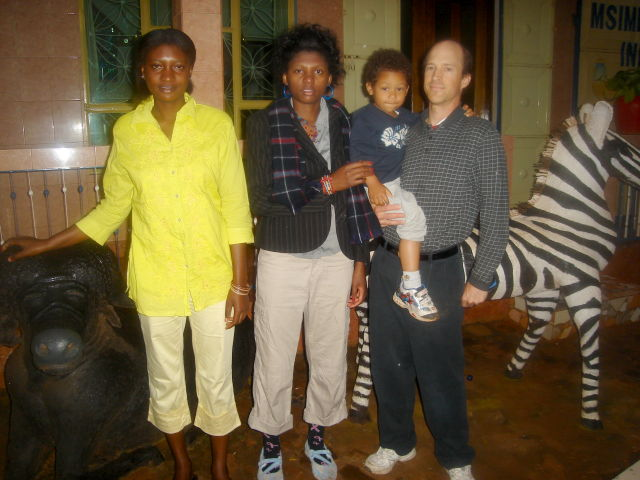 """Maria, Joanitha, Joachim and Greg at a hotel"", Karatu, Tanzania, 2008"